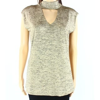 INC NEW Gold Womens Size Medium M Mock-Neck Cut-Out-Front Blouse