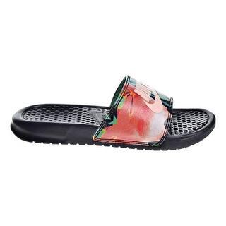 best sneakers 51526 1bbeb Nike Womens Benassi Jdi Print Sandals Black Crimson Tint Green Glow  618919-019