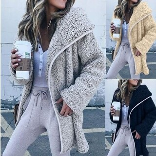 Women's Curved Hem Longline Faux Fur Sherpa Fleece Coat