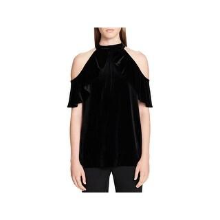 Calvin Klein Womens Halter Top Velvet Cold Shoulder
