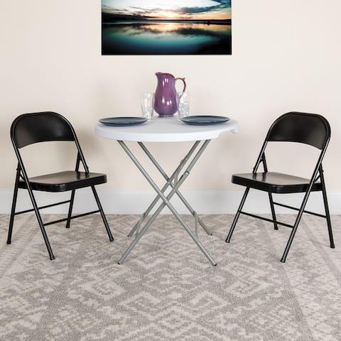 2PK Double Braced Metal Folding Chair - Event Chair - Portable Chair