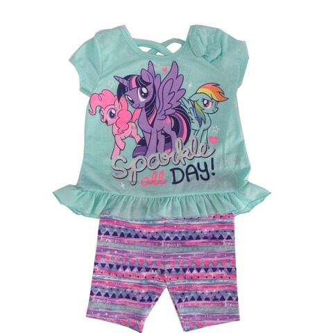 """Hasbro Little Girls Mint """"Sparkle All Day"""" Pony Print 2 Pc Shorts Outfit"""