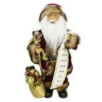 "16"" Woodland Standing Santa Claus Christmas Figure with Name List and Gift Bag"