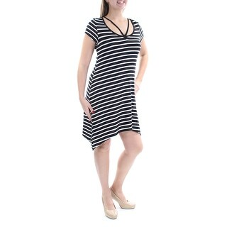 Womens Black Striped Short Sleeve Knee Length Dress Size: XL