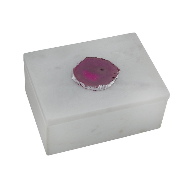Shop White Marble Trinket Box W Pink Agate Stone Accent