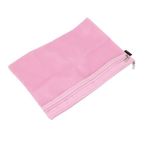 Unique Bargains Zipper Closure Net Pattern A4 2 Slots Paper Document Files Organizer Bag Pink