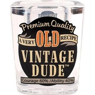 "Pack of 6 Transparent ""old Vintage Dude"" Printed Shot Drinking Glass 2.5"""