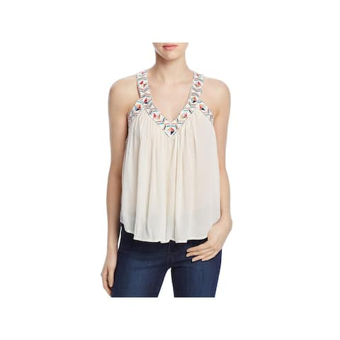 Cupcakes and Cashmere Womens Hush Tank Top Embroidered V-Neck