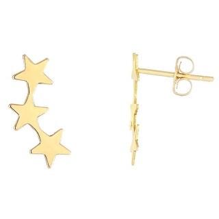 Amanda Rose Star Stud Earring Climber in 14k Yellow Gold