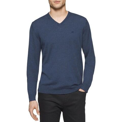 Calvin Klein Mens Pullover Sweater Merino Wool Heathered