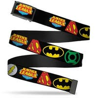 Justice League Shield Fcg Black Blue Red Yellow  Chrome Justice League Web Belt