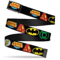 "Justice League Shield Fcg Black Blue Red Yellow 1.0"" Chrome Justice League Web Belt 1.0"" Wide"