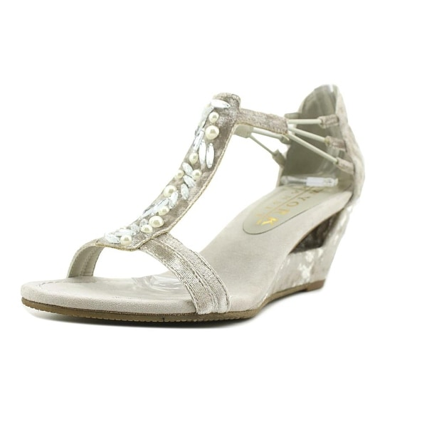 New York Transit Brighter Thought Women Open Toe Canvas Silver Wedge Sandal