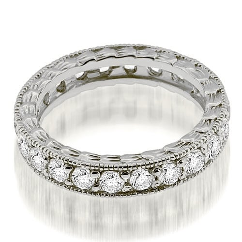 1.15 cttw. 14K White Gold Antique Style Round Cut Diamond Eternity Band Ring