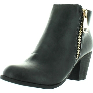 Liliana Ronda-1 Women's Chunky Heel Side Zipper Riding Ankle Booties - Charcoal