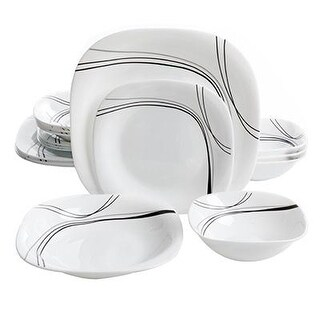 Gibson 108097.16 Oster Falan Tempered Chip Resistant Dinnerware Set White 16 Pc