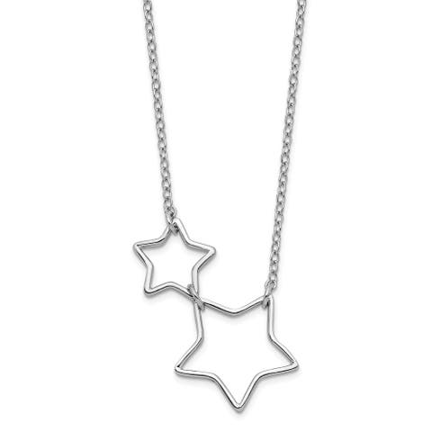 Sterling Silver Rhodium-plated Cut-out Stars with 2-inch Extension Necklace by Versil