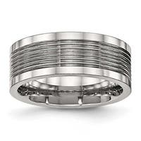 Stainless Steel Polished Grooved Comfort Back Ring (8 mm) - Sizes 7 - 13