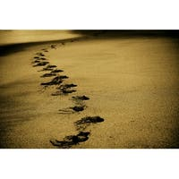 Footprints In Sand Photograph Wall Art Canvas