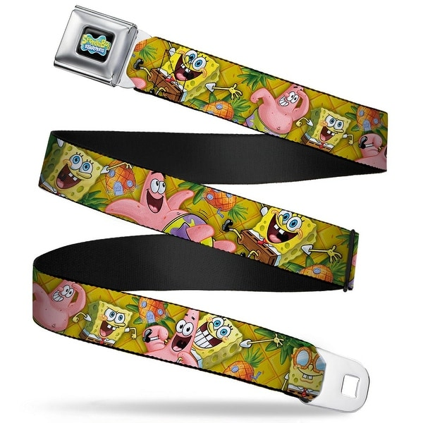 SpongeBob SquarePants Logo Full Color Black SpongeBob & Patrick Starfish Seatbelt Belt