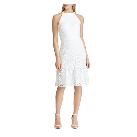 RALPH LAUREN White Sleeveless Knee Length Dress 4