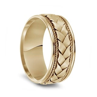 Link to 14k Yellow Gold Woven Center Rope Milgrain Men's Wedding Band with Polished Round Edges - 8.5mm Similar Items in Wedding Rings