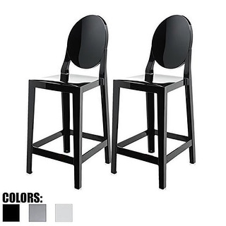 "2xhome Set of 2 Black Modern 25"" Seat Bar Stool Counter Height With Back Plastic Chairs Home Restaurant Kitchen"
