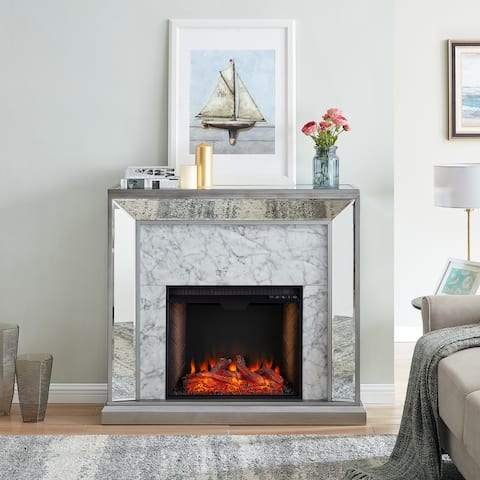 Silver Orchid Tranton Glam Mirror Alexa Enabled Fireplace