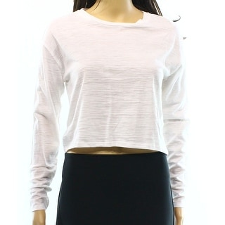 TopShop NEW White Women's Size 4 Striped Cropped Long Sleeve Knit Top