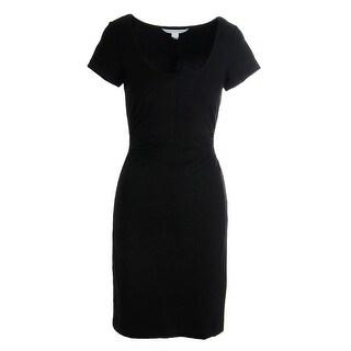 Diane Von Furstenberg Womens Bally Jersey Short Sleeves Wear to Work Dress - M