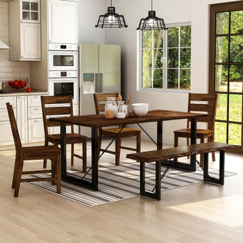 Furniture of America Mass Industrial Solid Wood 6-piece Dining Set