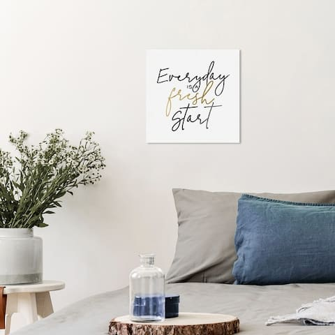 Wynwood Studio 'Everyday is a Fresh Start Minimal' Typography and Quotes Wall Art Canvas Print Quotes - Black, White