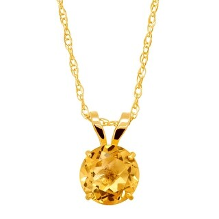 5 8 Ct Round Cut Natural Citrine Round Cut Solitaire Pendant In 10K Gold Yellow