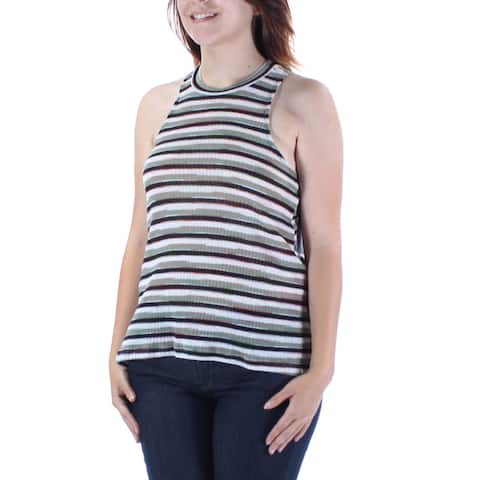 ALMOST FAMOUS Womens Green Striped Sleeveless Crew Neck Hi-Lo Top Size: S