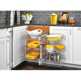 "Rev-A-Shelf 5PSP3-15SC  5PSP Series 26.25"" Wide Three Tier Blind Corner Pull Out Base Organizer with Soft Close Slides - Chrome"