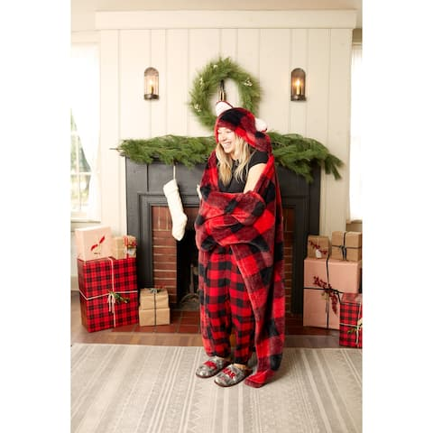Dearfoams Red and Black Buffalo Check Adult Hooded Throw with Sherpa