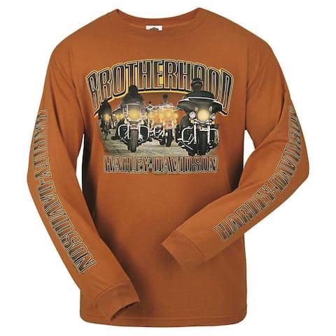 Harley-Davidson Men's Brother Road Biker Crew-Neck Long Sleeve Shirt, Orange