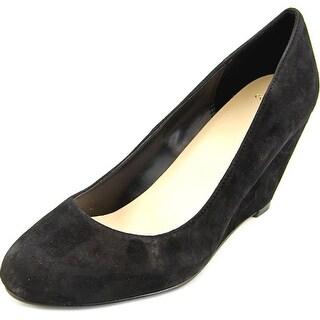 Cole Haan Lainey Wdg. 75. II Women Open Toe Suede Black Wedge Heel