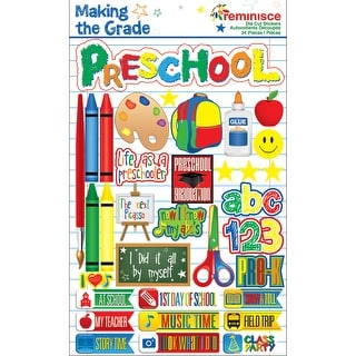 "Making The Grade Dimensional Stickers 4.5""X6"" Sheet-Preschool"