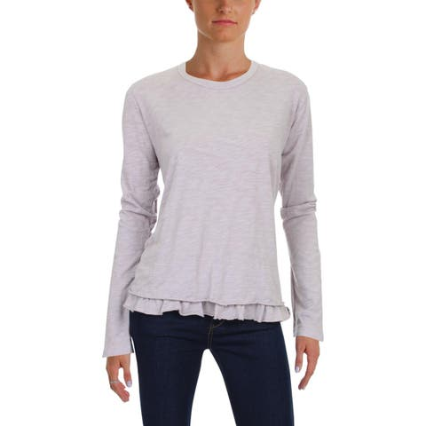Wilt Womens Knit Top Ruffled Long Sleeves