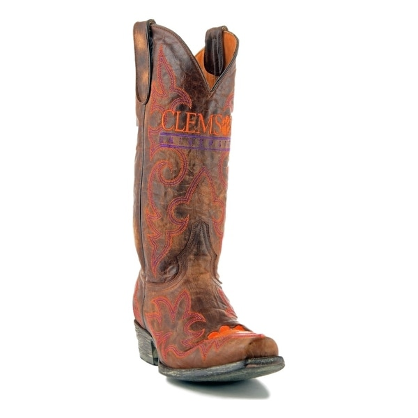 Gameday Boots Mens Leather College Team Clemson Tigers Brass