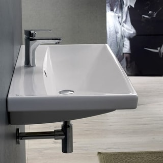 "Nameeks 032000-U Elite 23-5/8"" Ceramic Wall Mounted/Drop in Bathroom Sink with 1 / 3 Faucet Holes Drilled - Includes Overflow"