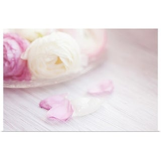 """""""Pink and white ranunculus flowers in glass plate with fallen petals on side."""" Poster Print"""