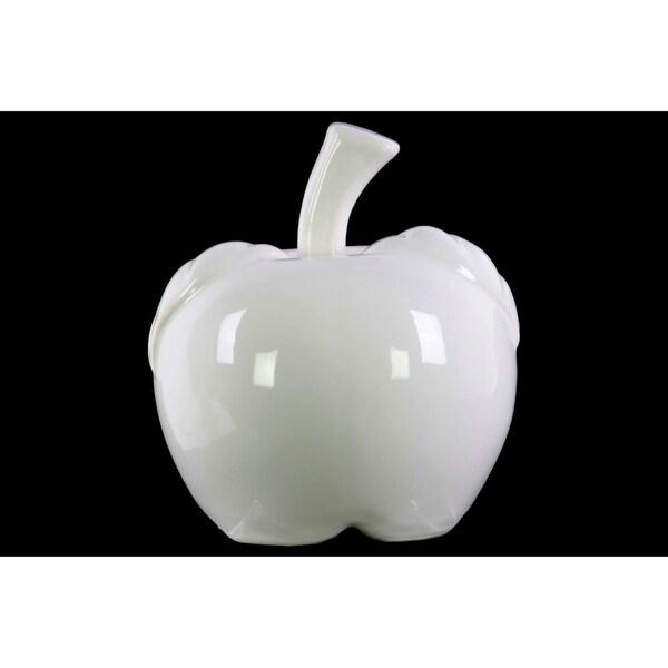Decorative Apple Figurine In Ceramic, Large, Glossy White