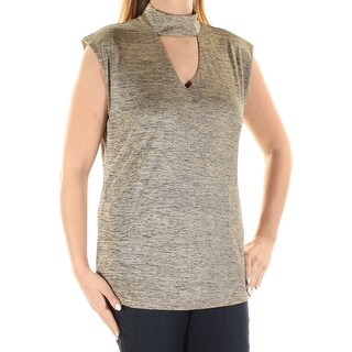 Womens Gold Sleeveless V Neck Casual Top Size L