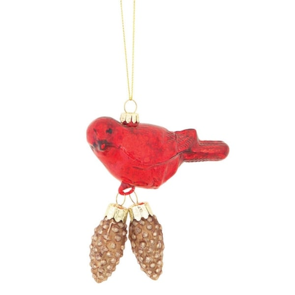 """4.5"""" Red Cardinal Bird with Hanging Brown Pinecones Glass Christmas Ornament"""