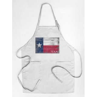 Rustic Texas State Flag - Lantern Press Artwork (Cotton/Polyester Chef's Apron)