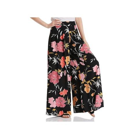 GUESS Womens Black Floral Wide Leg Pants Size 0
