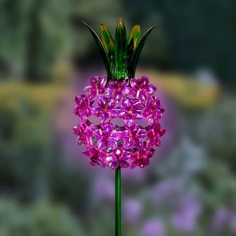 "Solar Pink Flower Pineapple Stake - 6.0"" x 3.5"" x 33.5"""