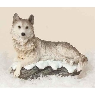 "4.75"" Joseph's Studio Wolf on Snowy Rock Table Top Christmas Figure"